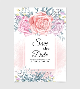 Bruiloft uitnodigingskaartsjabloon met aquarel bloem