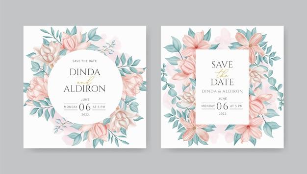 Bruiloft uitnodigingskaartsjabloon met aquarel bloemenframe