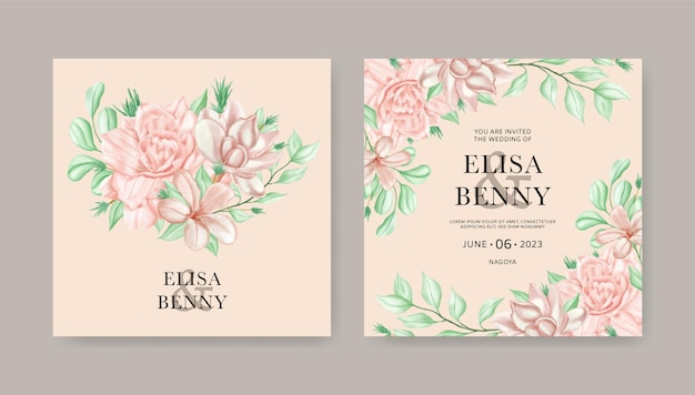 Bruiloft uitnodigingskaartsjabloon met aquarel bloemenornamenten