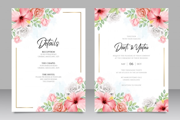 Bruiloft uitnodigingskaartsjabloon met bloemenframe aquarel