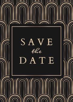 Bruiloft uitnodigingskaartsjabloon met geometrische art decostijl op donkere achtergrond
