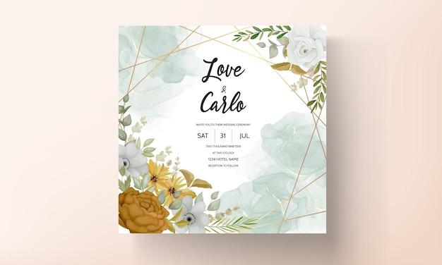 Bruiloft uitnodigingskaartsjabloon met handgetekende herfst herfst bloemen