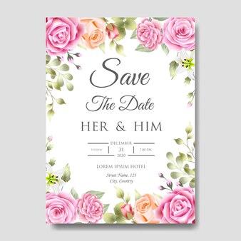 Bruiloft uitnodigingskaartsjabloon met mooie bloemenbladeren