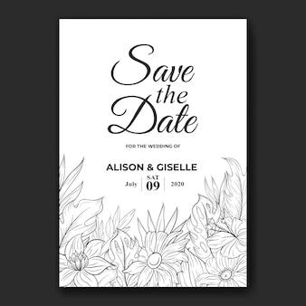 Bruiloft uitnodigingskaartsjabloon met tropische bloemenrand omtrek