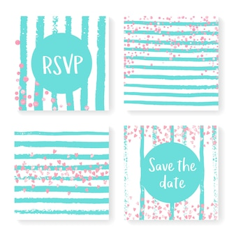 Bruiloft uitnodigingsset met glitter confetti en strepen. roze hartjes en stippen op mint en witte achtergrond. sjabloon met huwelijksuitnodiging voor feest, evenement, vrijgezellenfeest, bewaar de datumkaart.
