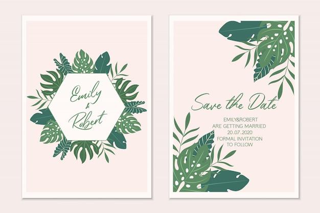 Bruiloft uitnodigingssjabloon kaart.
