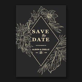 Bruiloft uitnodigingssjabloon met monstera tropische bloemen omtrek