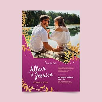Bruiloft uitnodigingsstijl met foto