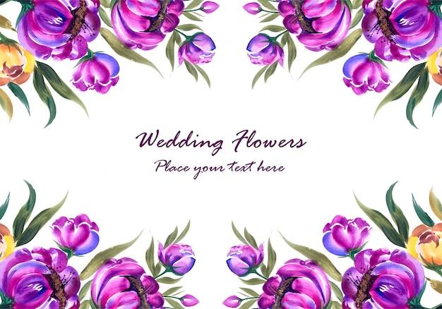 Bruiloft verjaardag decoratieve bloemen frame voor wenskaart