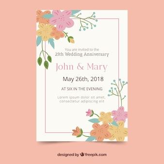 Bruiloft verjaardagskaart met bloemen