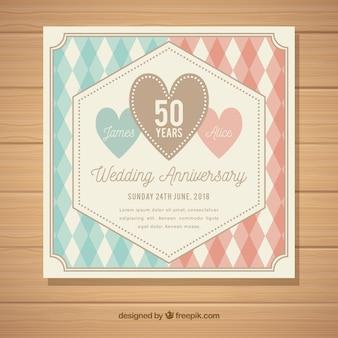 Bruiloft verjaardagskaart met patroon