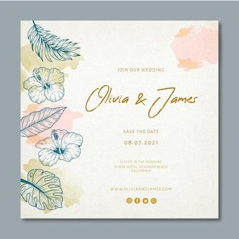 Bruiloft vierkante flyer met florale versieringen