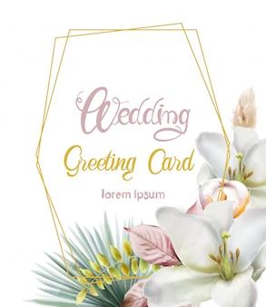 Bruiloft wenskaart met lelie bloemen