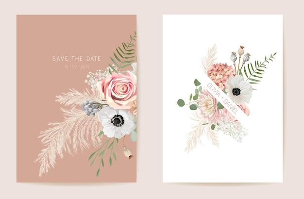 Bruiloft zomer bloemen uitnodiging, droge bloemen, gedroogde pampas gras kaart, aquarel sjabloon vector. botanische save the date lente cover, moderne poster, trendy design, luxe achtergrond