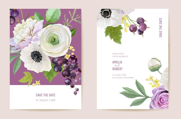 Bruiloft zwarte bessen bloemen vector kaart, bessen, bloemen, bladeren uitnodiging. aquarel anemoon, pioenroos, roze bloem sjabloon frame. botanisch boeket save the date luxe omslag, moderne poster