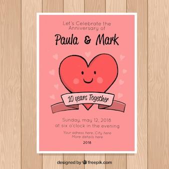 Bruiloftjubileumkaart met schattig hart