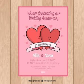 Bruiloftjubileumkaart met schattige harten