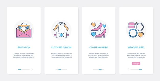 Bruiloftsdecoratie pakken en ringen voor bruid en bruidegom ui ux onboarding mobiele app-paginaschermset