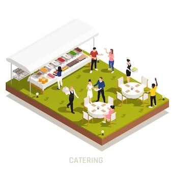 Bruiloftsreceptie in de achtertuin met buitenbuffet en obers die tafels serveren op een isometrische illustratie van het grasveld