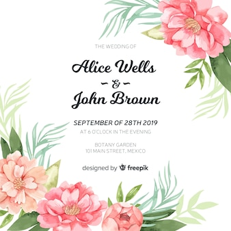Bruiloftsuitnodiging sjabloon met prachtige aquarel pioenroos bloemen