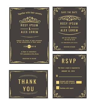 Bruiloftuitnodiging, bewaar de datum, rsvp-kaart, bedanktkaart, tafelnummer, cadeaubonnen, plaatskaarten, reagekaart.