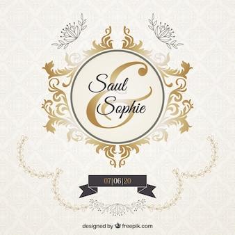 Bruiloftuitnodiging met elegante gouden ornamenten