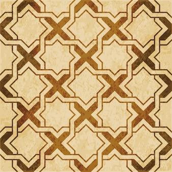 Bruin aquarel textuur, naadloze patroon, islamitische ster geometrie cross frame