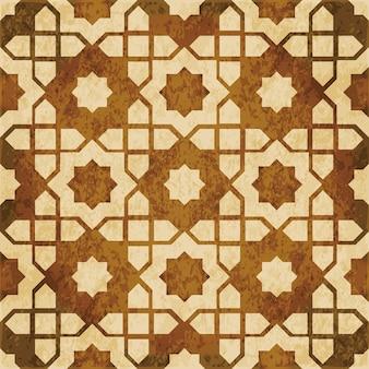 Bruin aquarel textuur, naadloze patroon, islamitische ster geometrie frame