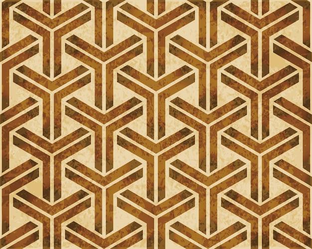 Bruin aquarel textuur, naadloze patroon, kubieke driehoek geometrie cross frame