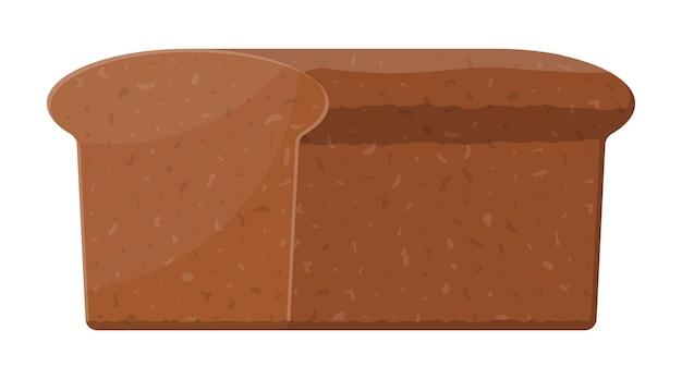 Bruin brood. roggebroodje. gebakken eten. bakkerij. vectorillustratie in vlakke stijl