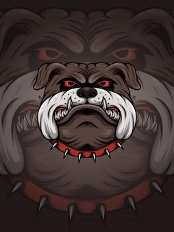 Bruin buldoghoofd met de rode illustratie van de doornkraag