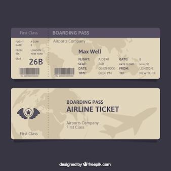 Bruin en blauw boarding pass
