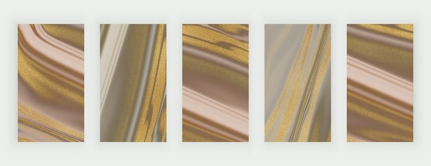 Bruin en naakt met gouden glitter vloeibare marmeren achtergronden voor sociale media