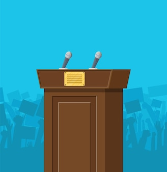 Bruin houten podium met microfoons voor presentatie. stand, podium voor conferenties, lezingen of debatten.