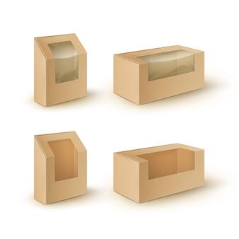 Bruin lege kartonnen rechthoek meeneem dozen verpakking voor sandwich