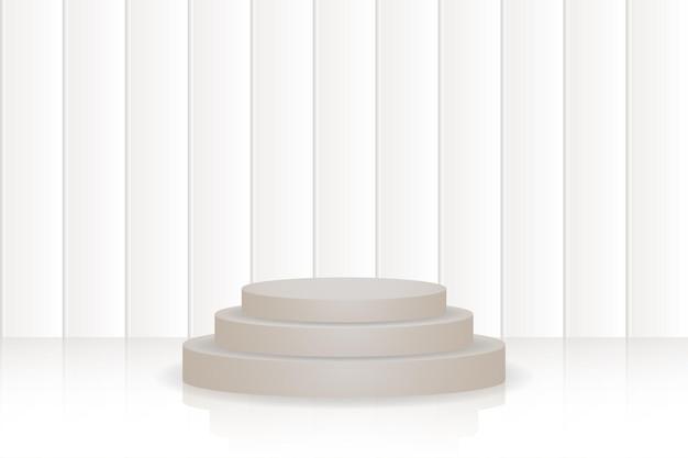 Bruin podiumbehang met geometrische 3d-vormen