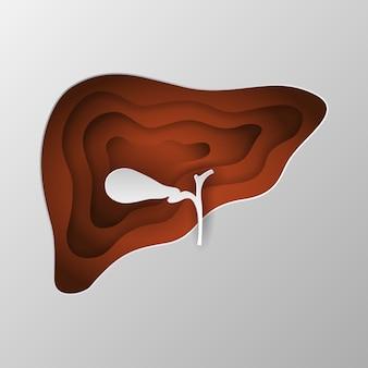 Bruin silhouet van een lever gesneden op papier.