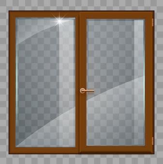 Bruin venster met transparant glas