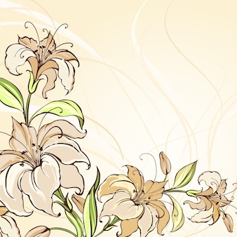 Bruine achtergrond met bloeiende lelies