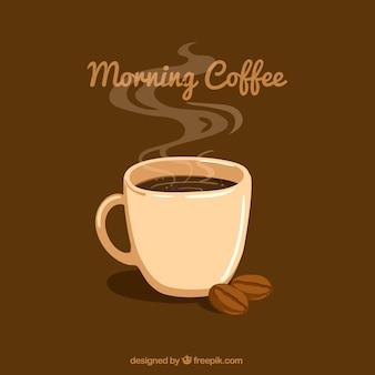Bruine achtergrond met koffie mok en koffiebonen