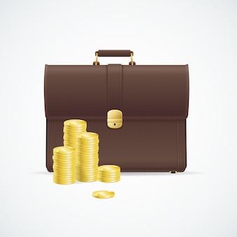 Bruine aktetas, cuitcase en geldconcept dat op witte achtergrond wordt geïsoleerd.