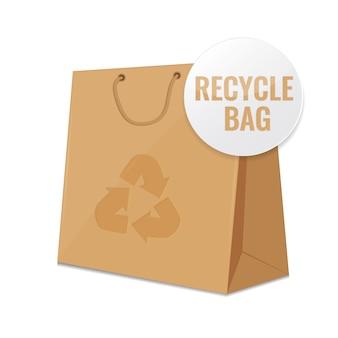 Bruine ambachtelijke recycle papieren zak.