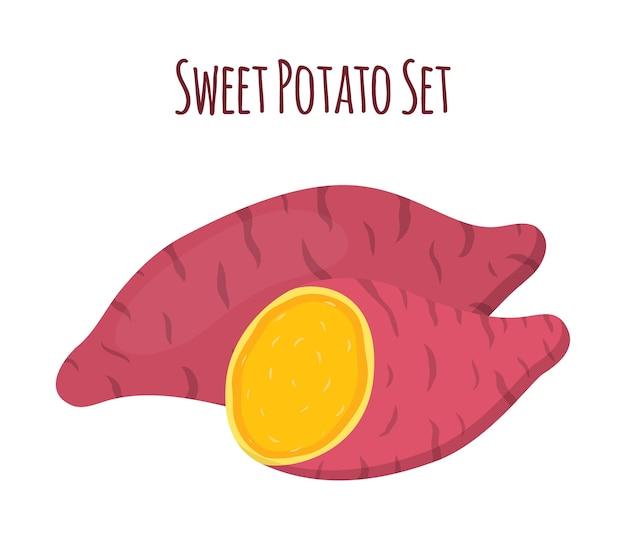 Bruine batat, zoete aardappel en plakjes. groente