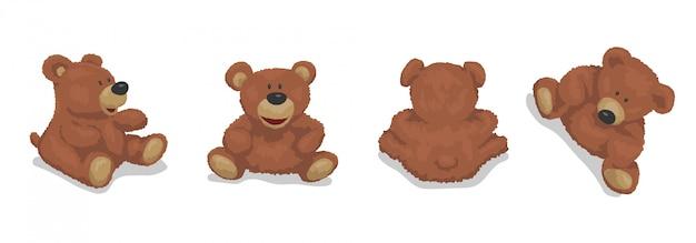 Bruine beer, schattige knuffel. set van illustraties voor kinderen