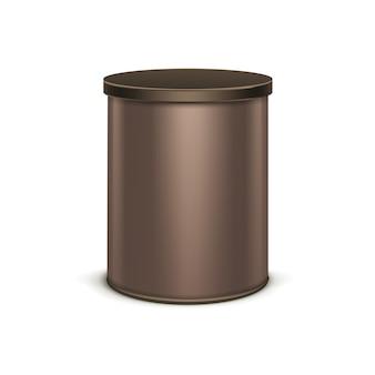 Bruine blikken doos verpakking voor thee koffie
