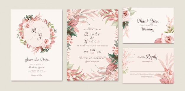 Bruine bruiloft uitnodiging sjabloon set met zachte aquarel bloemen frame en rand decoratie. botanische illustratie voor kaart samenstelling ontwerp