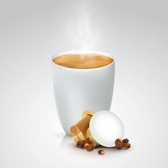 Bruine capsules voor koffiemachinelustratie.