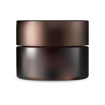 Bruine cosmetische pot. crème pakket mock up, beauty poeder fles met plastic dop, 3d-vector sjabloon geïsoleerd op een witte achtergrond