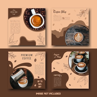 Bruine crème coffeeshop drink social media template post set bundel