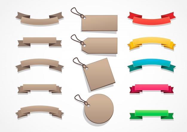Bruine en gekleurde banners